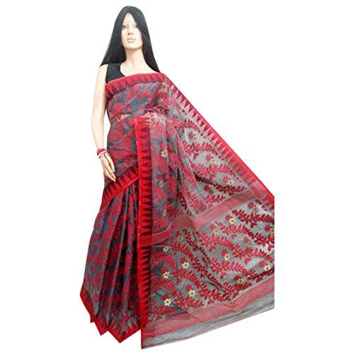 - Wedding Dhakai Jamdani Handloom silk Saree Ethnic Indian Beautiful Self Work Traditional Sari Bengal Weavers 105