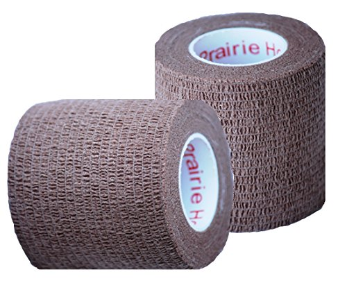 Vet Wrap Tape, Self Adherent Rap Tape, Self Adhering Stick Bandage, Self Grip Roll - (2-Inches Wide) x 15' Feet - (Brown)