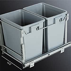 Amazon Com In Cabinet Double 20 Qrt Pull Out Waste