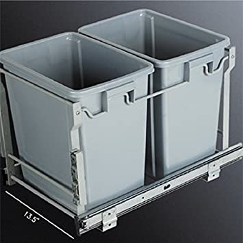 In Cabinet Double 20 Qrt Pull Out Waste Container / Trash Can With Door