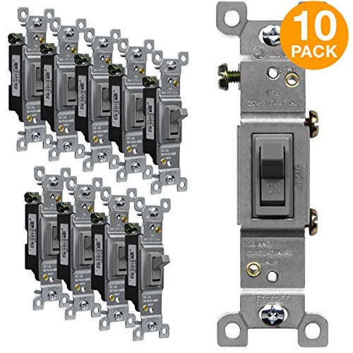 ENERLITES Toggle Light Switch, Single Pole, 15A 120-277V, Grounding Screw, Residential Grade, UL Listed, 88115-GR-10PCS, Gray (10 Pack)