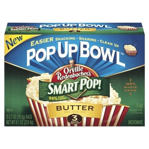 Orville Pop-up Bowl Smart Pop Butter Microwave Popcorn 3 Bags 8.1OZ (Pack of 24) by Orville Redenbacher's