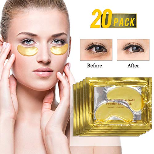 24K Gold Eye Treatment Mask Collagen Eye Mask Anti Age Under Eye Patches Anti Wrinkle Products with Hyaluronic Acid, Moisturiser for Under Eye Wrinkles, Eye Bag Removal (20pair)