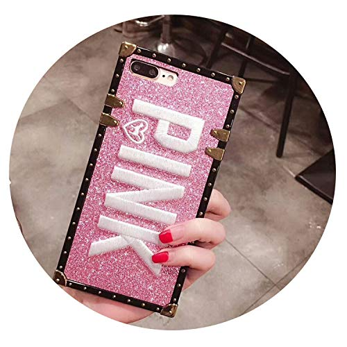 Phone Case with Luxury 3D Embroidered Pink Letters for iPhone 7 7 Plus Glitter Metal Square Soft Cases for iPhone 8X6 6S Plus,Pink,for iPhone 6 6s