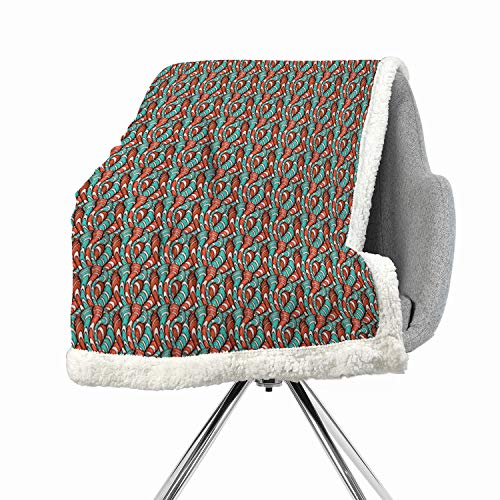 BenmoHouse Abstract Berber Fleece Blanket Small Quilt 60 by 78 Inch Velour Turquoise Vermilion White Hand Drawn Style Wavy Striped Bold Lines with Rough Grunge Look