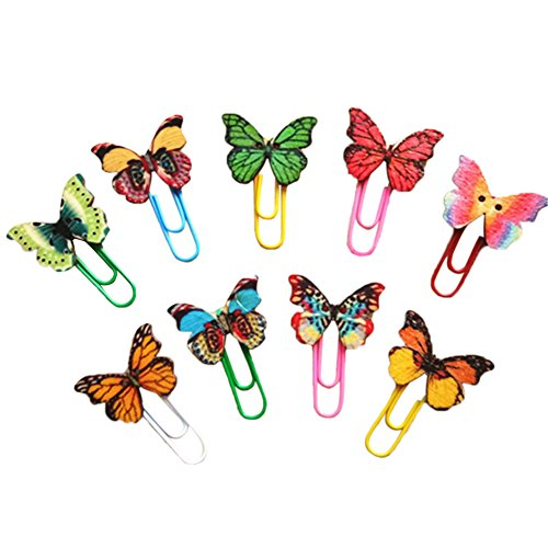 (Samzary Butterfly Paperclips Random Color Office Medium Paper Clips 50pcs, Novelty Metal Bookmark Office Gift Heavy Duty Non-Toxic )