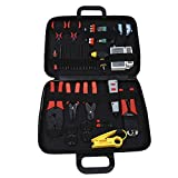 Seesii Professional Network/PC Computer LAN BNC RJ45 CAT5 Cable Tester Crimping Plier Cutter Stripper Electronic Screwdriver Measure Tape Tool Kit HY-2005-5