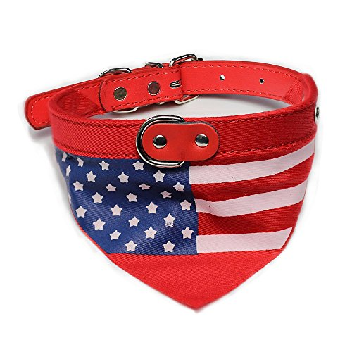 Adjustable Pet Collar Dog Cat Neckerchief Scarf with American Flag Pattern for Small Medium or Large - Flag Cat American