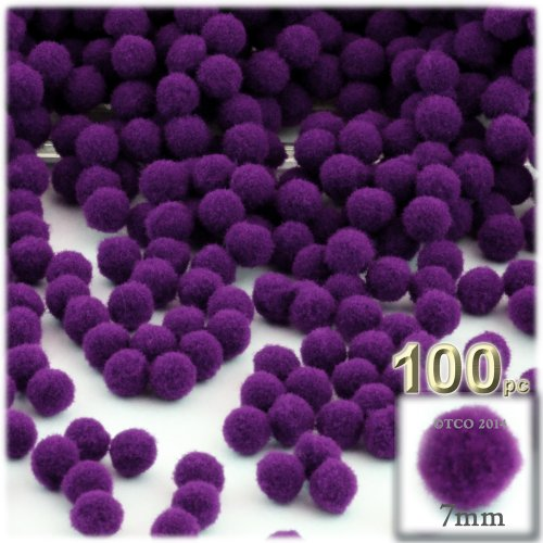 The Crafts Outlet 100-Piece Multi Purpose Pom Poms, Acrylic, 7mm/0.28-inch, Round, Turquoise Blue
