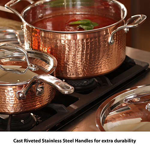 Lagostina Q554SA64 Martellata Tri-ply Hammered Stainless Steel Copper Oven Safe Cookware Set, 10-Piece, Copper by Lagostina (Image #5)