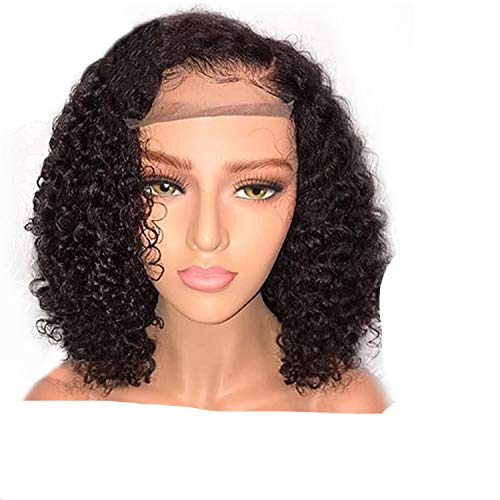 Short Lace Front Human Hair Wigs Pre Plucked Hair Curly Remy Hair Lace Front Wigs,Natural Color,12inches,150%]()