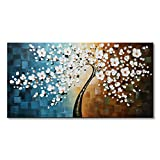 Winpeak Art Handmade Plum Tree Blossom Modern Canvas Flowers Artwork Contemporary Abstract Floral Paintings on Canvas Wall Art for Home Decorations Wall Decor Stretched and Ready to Hang (48''W x 24''H)