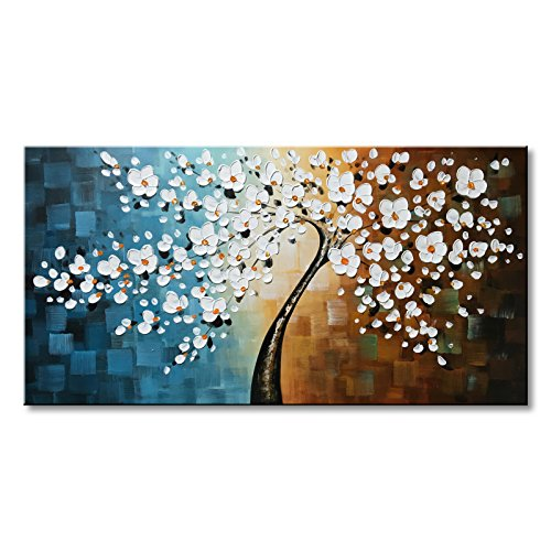 Large Handmade White Plum Blossom Flower Oil Painting on Canvas Floral Art Wall Decor by Winpeak Art