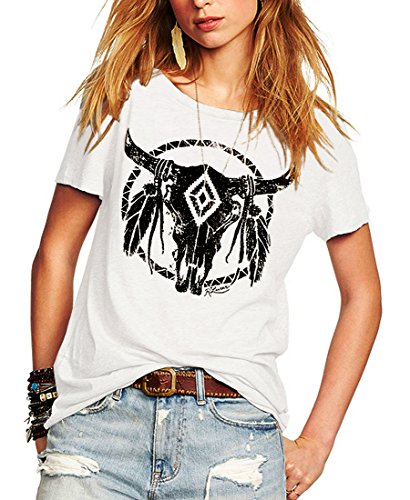 (Romastory Womens Street Pattern T-Shirt Short Sleeve Loose Summer Top Tee (L, White))