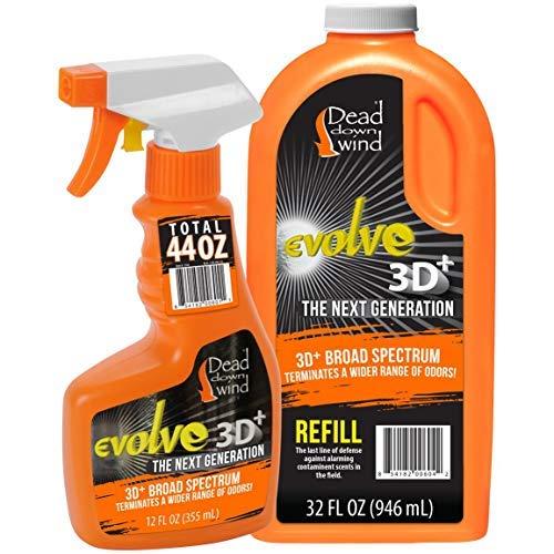 Dead Down Wind Evolve Field Spray Combo - 12 oz. & 64 oz. Refill Bottle, Unscented, Broad-Spectrum, Odor-Eliminating Hunting Spray