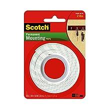 3M Scotch Cinta adhesiva para montaje para labores pesadas, 2.54 cm por 1.27 m Blanco Paquete de 1