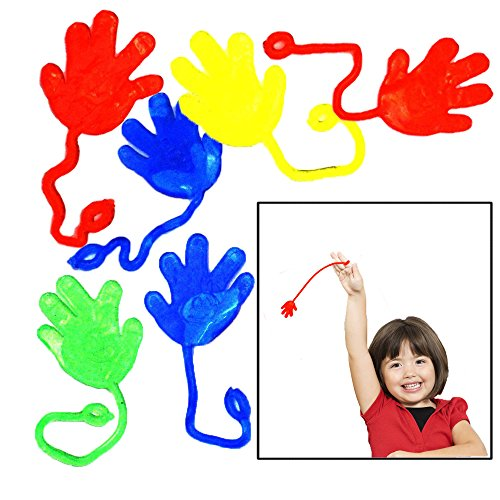 Sticky Hands - Pack of 36 - Toy Cubby Colorful Party Favor Stretchy Fun Bulk Fingers - Funny Wall Climbing Yo-Yos.