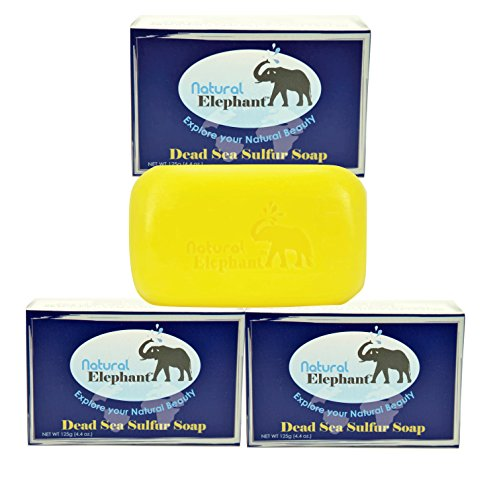 Dead Sea Sulfur Soap 4.4 oz 3 Pack (3 Soap Bars) by Natural Elephant by Natural Elephant