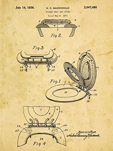 Toilet Seat Patent Drawing Metal Sign Vintage Bathroom Steampunk Industrial Decor