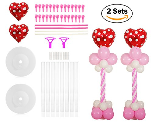 3 Column Base (2 Set Red Love Hearts Balloon Column Stands Base and Pole Kit - 4.5 FT and 3lb Weight Balloon Tower for Valentine's Day, Wedding Party, Married Anniversary)
