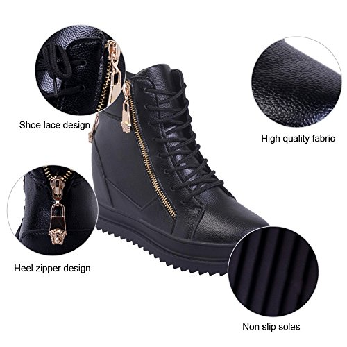 Top Hidden Ladies Black PADGENE Pumps Womens Ladies Trainers Platform Sneakers Girls Boots Lace High Wedge up Ankle XvRTwqR