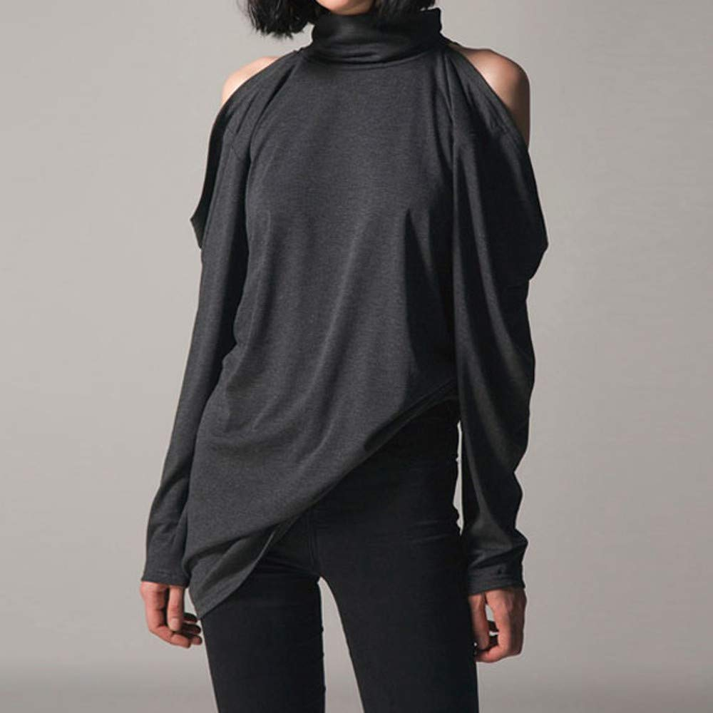 5be69f451e6e0 Amazon.com  Staron Women s Solid Turtle Neck Shirts Tops Casual Cold  Shoulder Long Sleeve Blouse  Office Products