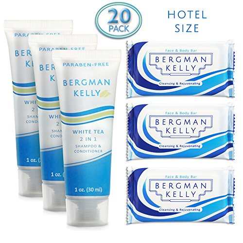 BERGMAN KELLY Soap Bars, 2in1 Shampoo and Conditioner 2-Piece Travel Amenities Hotel Toiletries In Bulk Guest Size Bottles and Bars (Hotel Size 1 Oz, 20 Pack)