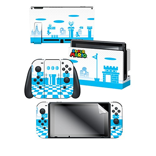 Controller Gear Skin   Screen Protector Set   Super Mario Mushroom Kingdom  Blue   Nintendo Switch