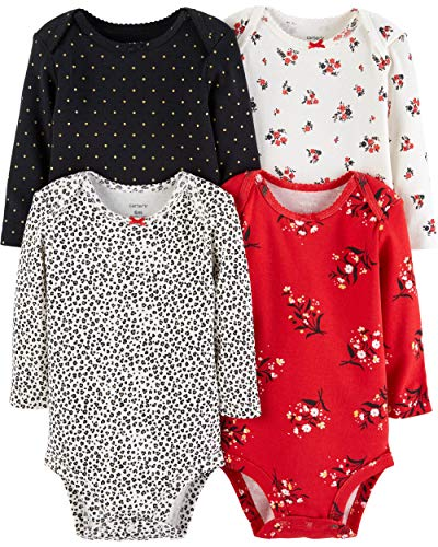 Carter's Unisex Baby 4-Pack Long-Sleeve Bodysuits (18 Months, Girls Red/Multi)