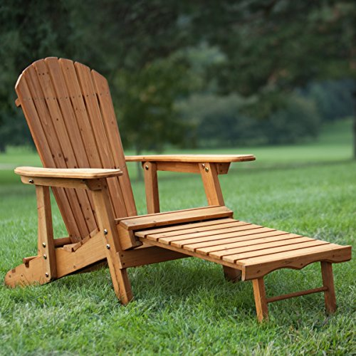 Best Selling Big Mans Solid Wood Recliner Adirondack Chair With Built-In Ottoman Leg Rest Support Ergonomic Comfort Craftsmanship- Made Of Solid Natural Fir Wood- Extra Large Arm Rest Reclining Back
