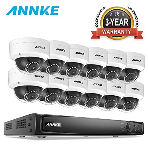 ANNKE 16CH POE Security Camera System 6MP NVR Recorder and (12) HD 1080P 1920TVL IP Cameras, IP66 Weatherproof Metal Housing, Motion Activated Mobile App Remote View (Network Camera Housing)