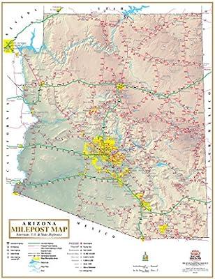 Arizona Milepost Map Interstate Us State Highways Gloss - Us-highway-map