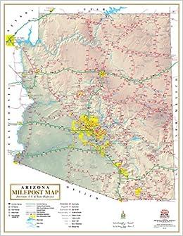 Arizona Milepost Map Interstate US State Highways Gloss - Us interstate wall map