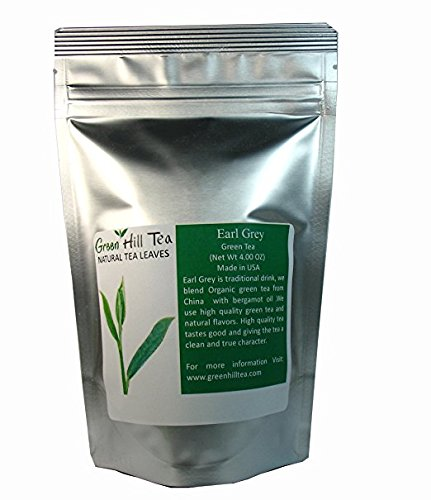 Earl Grey Green Tea, A classic blend with finest green tea,high ANTI-OXIDANTS - 4 Oz Bag