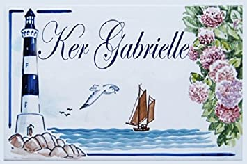 Azulu0027Decor35 Plaque De Maison Céramique Avec Nom De Famille, Nom De Villa.