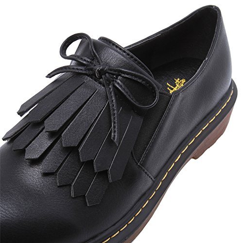 Smilun Women¡¯s Formal Shoes Dress Brogues Classic Lace-up Flats Shoes for Jeans for Women Black Size 8 B(M) US by Smilun (Image #4)
