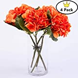 S.Ena, 6 Branch 30 Heads Artificial Silk Fake Flowers Leaf Hydrangea Wedding Floral Home Decor Bouquet Birthday Party DIY, Pack of 4 (Orange)