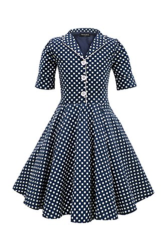 BlackButterfly Kids 'Sabrina' Vintage Polka Dot 50's Girls Dress (Midnight Blue, 9-10 YRS)