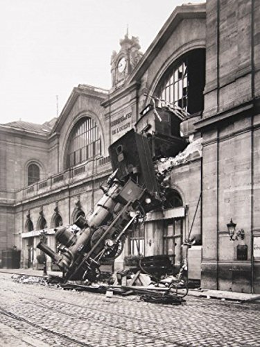 Posters: Trains Poster Art Print - Train Wreck At Montparnasse Station, Paris, France, 1895