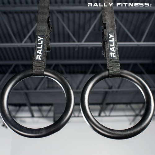 Rally Fitness Gymnastic Olympic Metal Rings (Pair) on 16' Vinyl Straps with Buckles