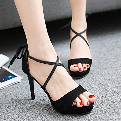Aguja Negro Toe Sandalias Criss de Moda Zapatos COOLCEPT Peep Mujer Plataforma Tacon HPYx4
