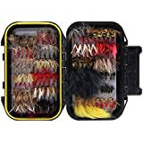 Croch 100pcs / 120pcs Fly Fishing Dry Flies Wet Flies Assortment Kit with Waterproof Fly Box for Trout Fishing