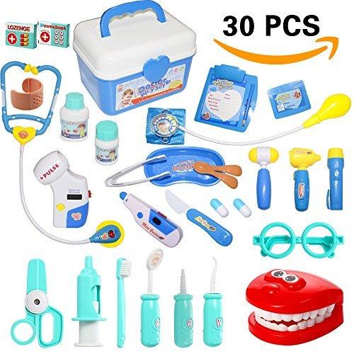Rainbowstone 30 Pieces Doctor Kit, Pretend Play Doctor Kit, Toy Doctor Kit for Toddler, Kids, Girls and Boys