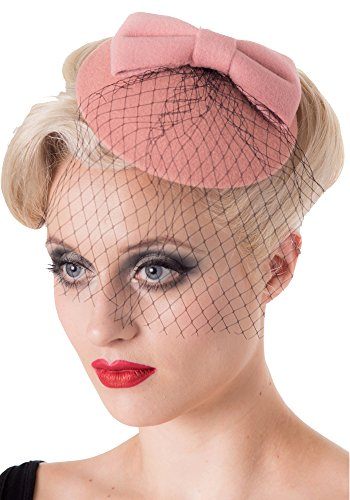 Bettie Page Boutique - Banned Apparel Dancing Days by Retro Inspired Pillbox Net Veil Hat Fascinator (One Size, Pink (Candice))