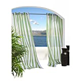 Commonwealth Home Fashions 70503-109-601-96 Escape Sheer Stripe Grommet Outdoor Top Curtain Panel 96 in., Green Review