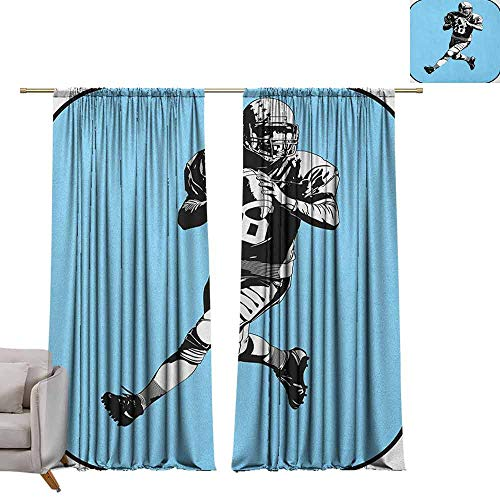Decor Curtains by Sports,American Football League Game Rugby Player Run Original Retro Illustration, Blue Black White W96 x L108 Blackout Draperies for Bedroom