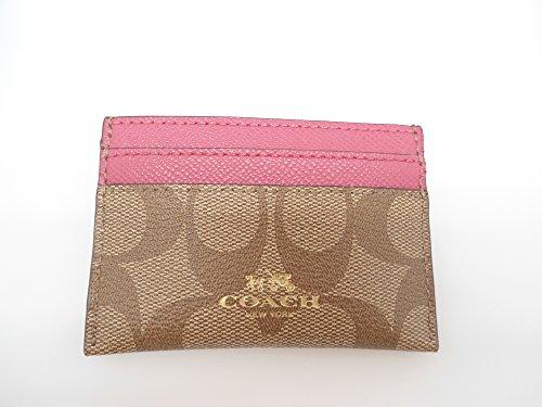 Coach Signature Pvc Card Case Khaki Dhalia Pink 63279