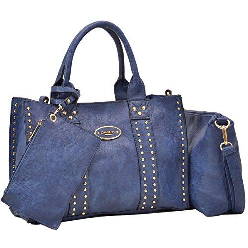 Women Handbag 3 Pieces Set Leather Shoulder Bag Satchel Purse 3 in 1 Simple Design Blue