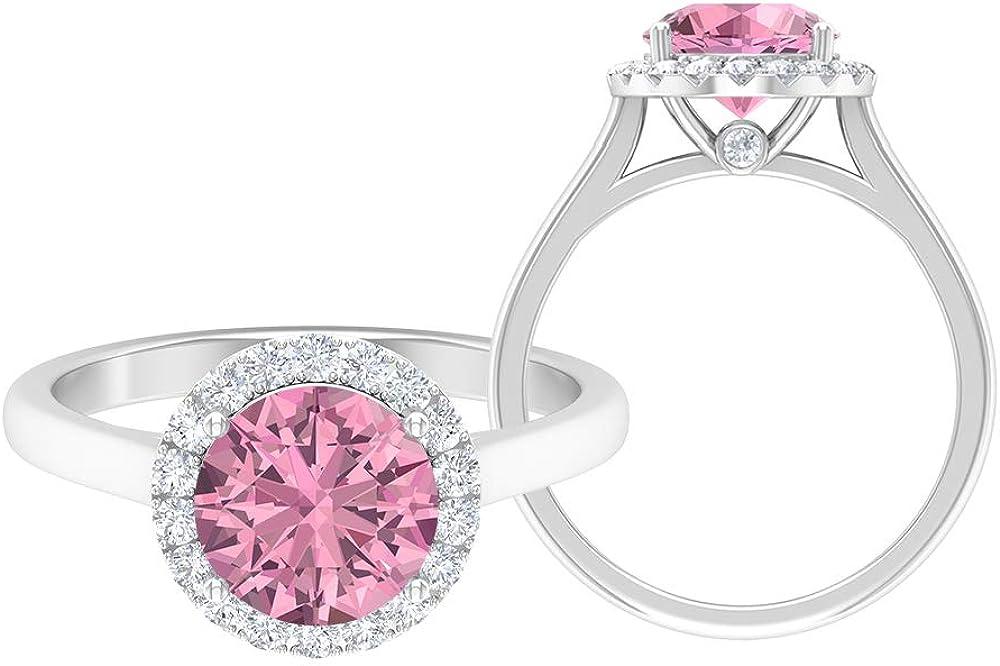 Anillo de turmalina, anillo de compromiso de halo, piedras preciosas redondas de 2,40 quilates, anillo de solitario D-VSSI de moissanite de 8 mm, 18K Oro
