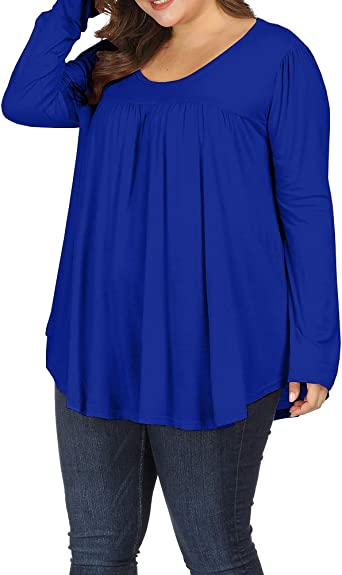 Allegrace Women Plus Size Long Sleeve Turtleneck Long Tunic Top Flowy Irregular Hem Shirts